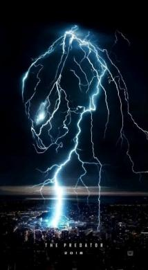 Forks of lightning against a dark sky form the outline of a Predator's mask