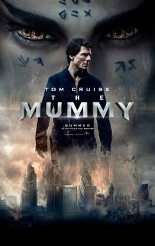 The poster features skyscrapers stuck in a blizzard, in the center. Upon which Tom Cruise appears, whose face is looking somewhere else. Behind him, face of Egyptian Princess appears, spread upon whole top-half portion. The princess has two irishses in each eye, which appears like she got four eyes. Above all these, in the center, title: THE MUMMY, appears.